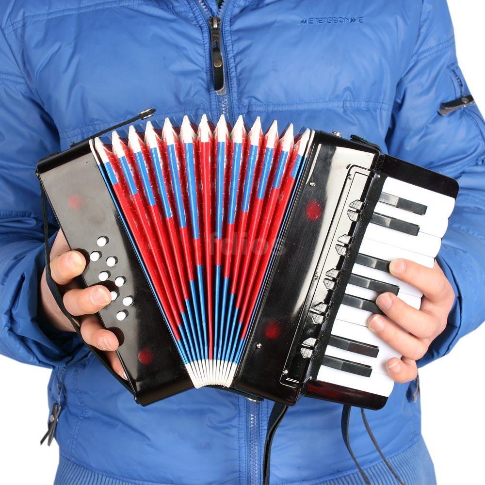 Kinder Akkordeon 8-Bass 17 Noten tasten Ziehharmonika Accordion Schultergurt